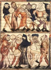 Miniatura dal Roman de Fauvel, Parigi, Bibliothèque Nationale.